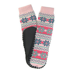 J.Ann Women's Jacquard Knitted Slipper Sock, Bottom Size 23-24cm