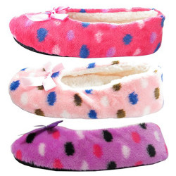 J.Ann-Womens 3-Pair/Pack Cozy Slipper Sock, Bottom Sewed with No-slip Spot Printed, Size 24-25cm.