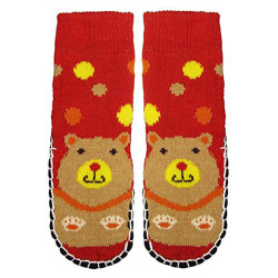 """Bearfoot"" Little Girls Knitted Home Slipper Socks With NON Slip Bottom"