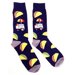 Fast Food Munchies Crew Socks (Taco Cart - Blue & Grey)