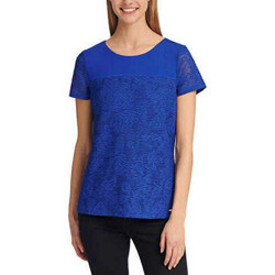 Calvin Klein Women's Short Sleeve Mesh Overlay Double Layer Tee (Atlas Blue, M)