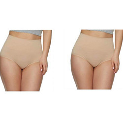 Gloria Vanderbilt Ladies Seamless Shaping Brief Medium Control Soft Yarn (2 Pack)