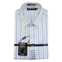 Kirkland Signature Men's Slim Fit Dress Shirt- Many Size, White/Blue Stripes (17 x 33/White)