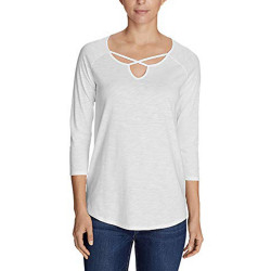 Eddie Bauer Women's Gate Check 3/4-Sleeve Cross-Front Tunic
