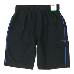 Speedo Boy's Swim Trunks Swimsuit (Small, Black Blue (04))