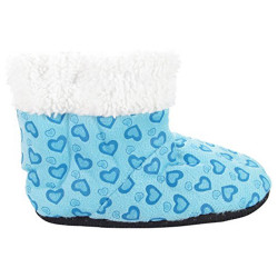 J.Ann Toddlers/Little Girls (2T-4T) Fleece Sherpa Printed Slipper Booties, Non Slip