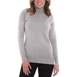 Joseph A. Women's Solid Long Sleeve Turtleneck Sweater(Light Heather Grey/Medium)