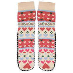 J.Ann Ladies Jacquard Knitted Slipper Sock, Hearts Designs,Bottom Size:23-24 cm