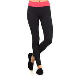 Yoga Pants with Fold Over Solid Waistband (Large)