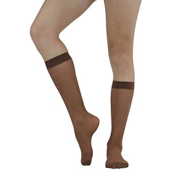 Sheer Nylon Knee High Stockings (pack of 6 pairs/One Size)