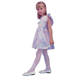 Girl's 1Pc/Pk With Flock Printed White Tights