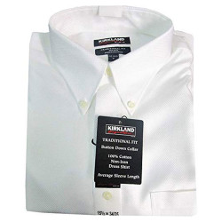 Men's Traditional Fit Non-Iron Dress Shirt (White Texture)