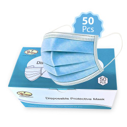 Pacificlane Disposable 3 Layered Ear Loop Safety Face Masks Breathable, Comfortable for Protection, From , Dust, Allergens 50pc