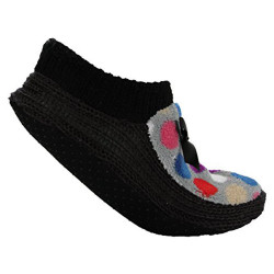 Ladies Non Slip Knitted Velvet Accent Home Sliper Sock W.Bow, Foot Size:24-25Cm