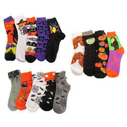 Youth 6-PK or 12-PK Fun and Colorful Assortment of Halloween Socks, Socks Size 6-8