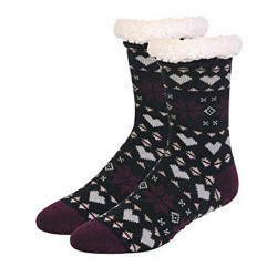 Mopas Womens Sherpa Lined Cozy Thermal Non-Skid Socks (1 Pair/ 9-11 )