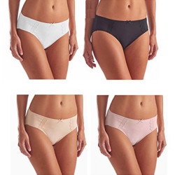 Cut Underwear Brushed Microfiber with Lace - Ultra Soft Comfort- 4 Pack Assorted 4 Color (White, Pink, Nude, Black)