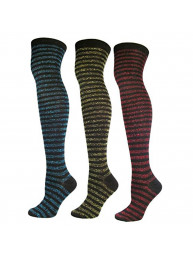 Women's 1 OR 3-Pair/Pack Fashion Shimmering Striped Over Knee High Sock