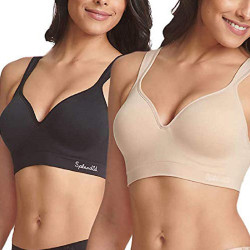 Ladies' Seamless Wireless Bra, 2-Pack, White/Gray