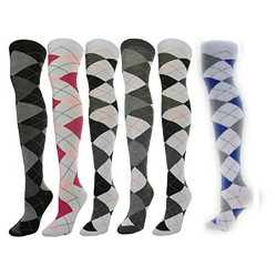 Women's 1 Or 6-Pair/Pack Over Knee High Socks, Assorted Colors,Sock Size 9-11